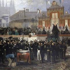 Domenico Induno, Posa della prima pietra della Galleria di Milano il 7 marzo, 1865, olio su tela, 1867, Milano. Museo di Milano