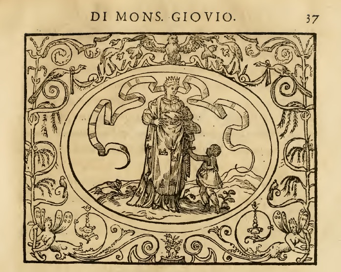 """Allegoria dell'Italia nettata dal Moro tratta dal libro """"Dialogo dell'imprese militari et amorose"""" di Paolo Giovio, Lione 1574."""